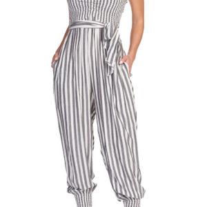 b/n striped jumpsuit