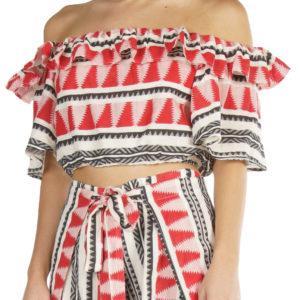 Blusa off shoulder con print azteca