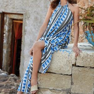 vestido halter maxi con print azteca